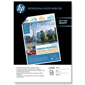 Image of HP A4 Professional Matt Laser Photo Paper / White / 200gsm / Pack of 100