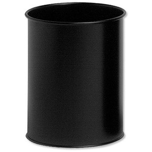 Image of Durable Round Bin / Metal / 15 Litres / Black