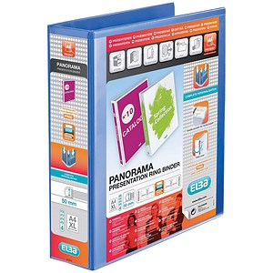 Image of Elba Panorama Presentation Ring Binder/ 4 D-Ring / 65mm Spine / 50mm Capacity / A4 Blue / Pack of 4