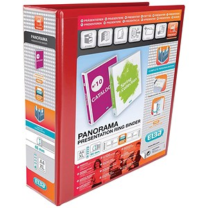 Image of Elba Panorama Presentation Ring Binder / 4 D-Ring / 80mm Spine / 65mm Capacity / A4 / Red / Pack of 4