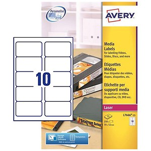 Image of Avery Laser Media Labels for 3.5 inch Disk / 10 per Sheet / 70x52mm / L7666-25 / 250 Labels