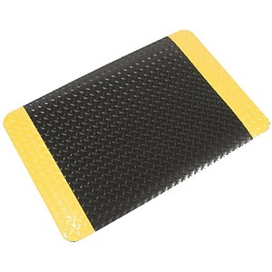 Image of COBA Safety Deckplate Mat PVC Diamond Tread Foam-backed Yellow-bordered W900xD1500mm Black Ref SD010702
