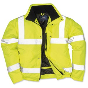 Image of High Visibility Bomber Jacket / Stain-resistant / Large / Yellow