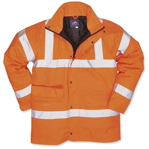 Image of Portwest High Visibility Railtrack Jacket / Resistant Finish / Medium / Orange
