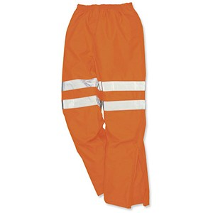 Image of Portwest High Visibility Railtrack Trousers / Breathable Material / Large / Orange