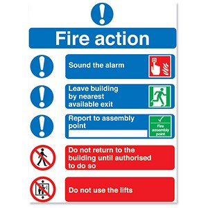 Image of Symbol Fire Action Sign W210xH148mm