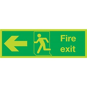 Image of Niteglo Fire Exit Sign Man and Arrow Left Polypropylene 450x150mm Ref SL120PLP