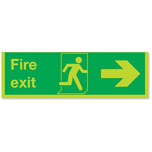 Image of Niteglo Fire Exit Sign Man and Arrow Right Polypropylene 450x150mm Ref FX04411M