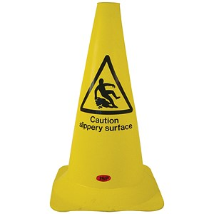 Image of Safety Cone PVC Caution Slippery Surface H500mm