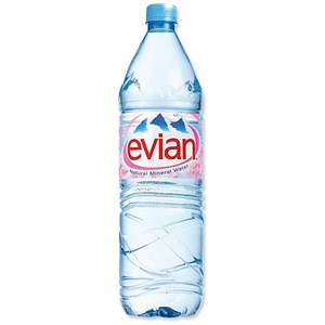 Image of Evian Natural Mineral Water - 12 x 1.5 Litre Plastic Bottles
