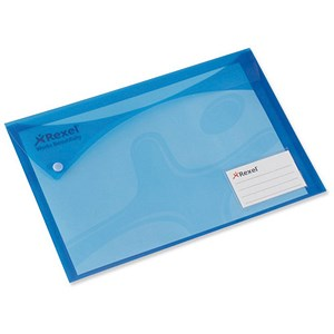Image of Rexel Carry Xtra Folders / Landscape / Extra Back Pocket and Card Holder / A4 / Blue / Pack of 5