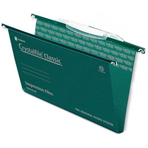 Image of Rexel CrystalFiles Classic Suspension Files with Link Tabs / Square Base / 30mm Capacity / Foolscap / Pack of 50