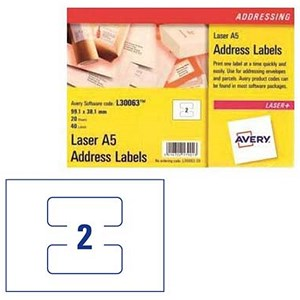 Image of Avery Laser Addressing Labels / A5 Sheet of 2 Each / 99.1x38.1mm / L30063-20 / 40 Labels