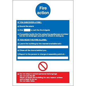 Image of Stewart Superior Safe Condition & Fire Equipment Sign Fire Action Write On 297x210mm Ref NS017