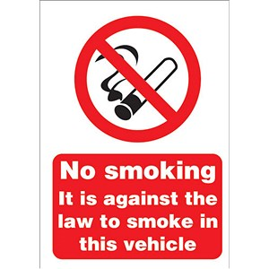 Image of No Smoking Sign for Vehicles 148x210mm (A5) White Self-adhesive Vinyl