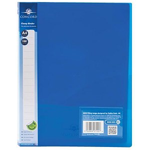 Image of Concord A4 Clamp Binders / Polypropylene / 75 micron / 100 Sheet Capacity / Blue / Pack of 10