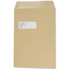 Image of Basildon Bond C4 Pocket Envelopes with Window / Manilla / Peel & Seal / 90gsm / Pack of 250