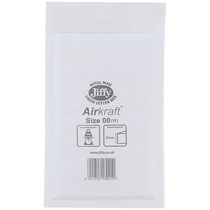 Image of Jiffy Airkraft No.00 Bubble-lined Postal Bags / 115x195mm / Peel & Seal / White / Pack of 100