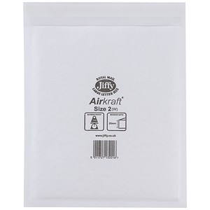 Image of Jiffy Airkraft No.2 Bubble-lined Postal Bags / 205x245mm / Peel & Seal / White / Pack of 100