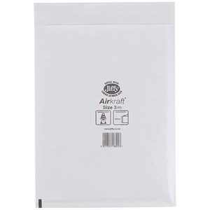 Image of Jiffy Airkraft No.3 Bubble-lined Postal Bags / 220x320mm / Peel & Seal / White / Pack of 50