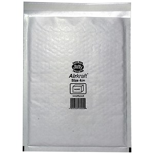 Image of Jiffy Airkraft No.4 Bubble-lined Postal Bags / 240x320mm / Peel & Seal / White / Pack of 50