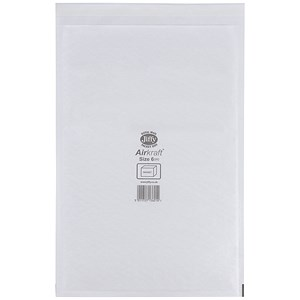 Image of Jiffy Airkraft No.6 Bubble-lined Postal Bags / 290x445mm / Peel & Seal / White / Pack of 50