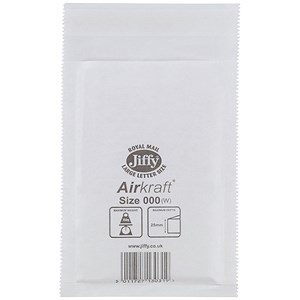 Image of Jiffy Airkraft No.000 Bubble-lined Postal Bags / 90x145mm / Peel & Seal / White / Pack of 150