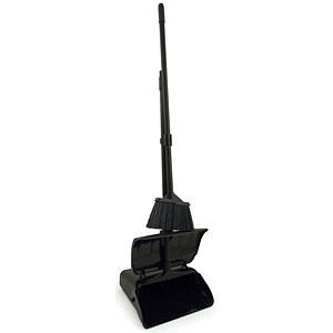 Image of Long Handled Dustpan & Brush With Lid Set - Black