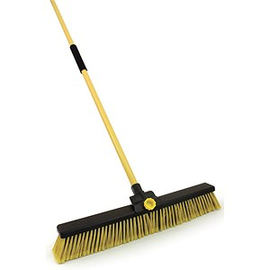 Image of Dual Purpose Bulldozer Broom / Soft/Stiff Brushes / Metal Handle / 24 inch Broom