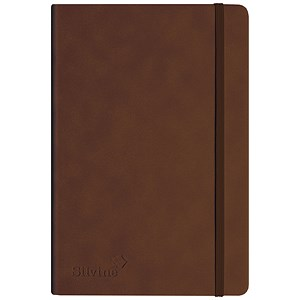 Image of Silvine Executive Soft Feel Notebook / A5 / Ruled with Marker Ribbon / 160 Pages / Tan