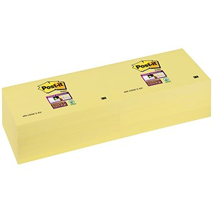 Image of Post-it Super Sticky Removable Notes / 76x127mm / Canary Yellow / Pack of 12 x 90 Notes