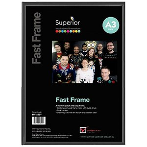 Image of Black Photo Frame - Back Loading - Clear Front - A3