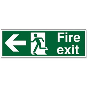 Image of Stewart Superior Fire Exit Sign Man and Arrow Left 600x200mm Self-adhesive Vinyl Ref NS001