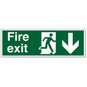 Image of Stewart Superior Fire Exit Sign Man and Arrow Down 600x200mm Self-adhesive Vinyl Ref NS007