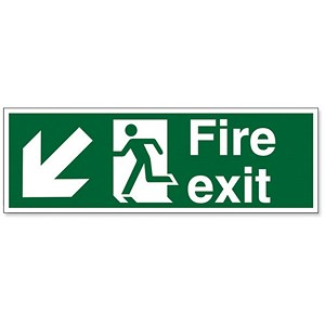 Image of Stewart Superior Fire Exit Sign Man and Arrow Down Left 600x200mm Self-adhesive Vinyl Ref NS005