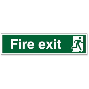 Image of Stewart Superior Safe Condition & Fire Equipment Sign Fire Exit Man to Right 150x600mm Ref NS004