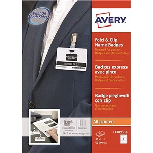 Image of Avery Fold & Clip Name Badges / 60x90mm / White / 30 Badges