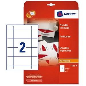 Image of Avery Printable Business Tent Card / 180mm x 60mm / 2 per Sheet / White / 190gsm / Pack of 40