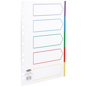 Image of Concord Subject Dividers / Polypropylene / 5-Part / Multicolour Tabs / Extra Wide / A4 / White
