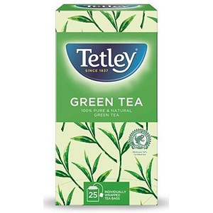 Image of Tetley Pure Green Tea Bags / Individually Wrapped / Pack of 25