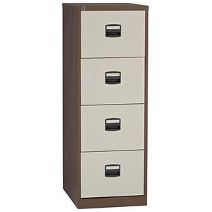 Image of Trexus 4-Drawer Filing Cabinet / Foolscap / Brown & Cream
