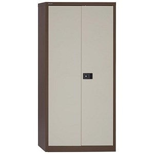 Image of Trexus Tall Steel Storage Cupboard - Brown & Cream