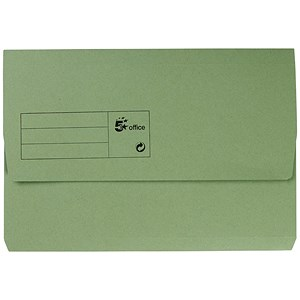 Image of 5 Star Document Wallet Half Flap 285gsm Capacity 32mm Foolscap Green [Pack 50]