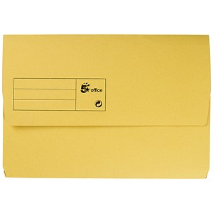 Image of 5 Star Document Wallet Half Flap 285gsm Capacity 32mm Foolscap Yellow [Pack 50]