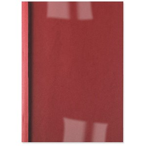 Image of GBC Thermal Binding Covers / 6mm / Front: Clear / Back: Red Leathergrain / A4 / Pack of 100