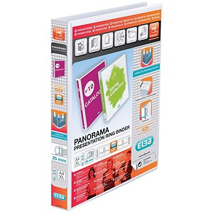 Image of Elba Panorama Presentation Binder / A4 / 25mm Capacity / White / Pack of 6