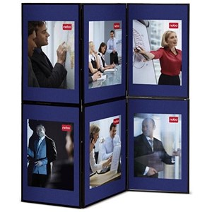Image of Nobo Showboard Display / 6 Panels / Blue & Grey