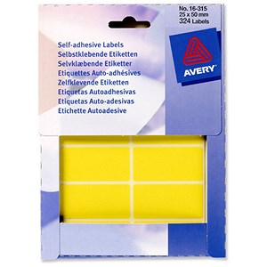 Image of Avery Label Wallet / 50x25mm / Yellow / 16-315 / 324 Labels