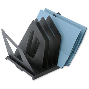 Image of Metal File Sorter with 7 Pivoting Dividers - Black