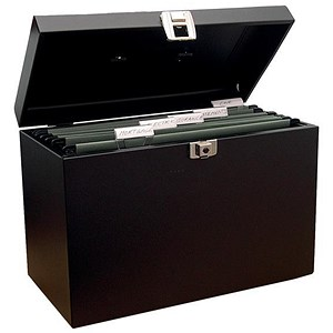 Image of Metal File Box with 5 A4 Suspension Files, Tabs & Inserts / Black